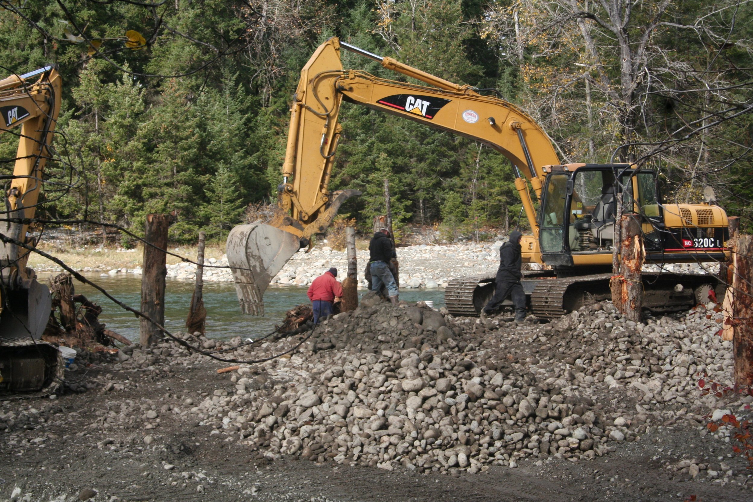 Working was done with large machinery on the Cle Elum River Restoration Project.